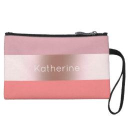 Elegant modern chick rose gold pink coral striped wristlet