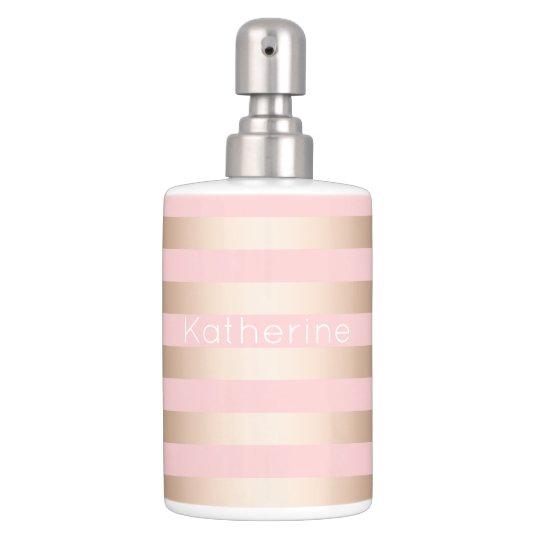 Elegant Bathroom Rose: Elegant Modern Chick Rose Gold Pink Striped Bath Set