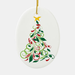 Elegant Modern Christmas Tree Illustration Ceramic Ornament
