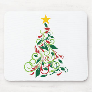 Elegant Modern Christmas tree Illustration Mouse Pad