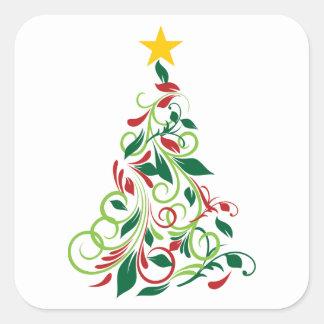 Elegant Modern Christmas tree Illustration Square Sticker