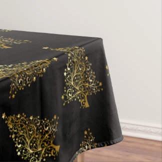 Gold christmas pattern tablecloths zazzle for Modern gold christmas tree