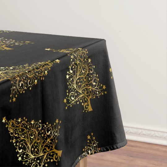 Elegant Modern Christmas Tree Pattern Black Gold Tablecloth