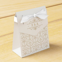 Elegant modern classic vintage wedding monogram favor box