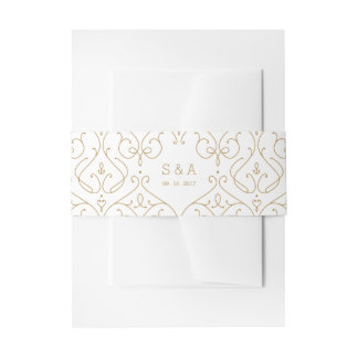 Elegant modern classic vintage wedding monogram invitation belly band