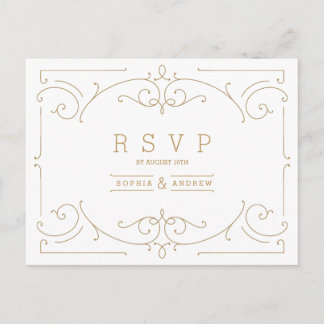 Elegant modern classic vintage wedding RSVP Invitation Postcard