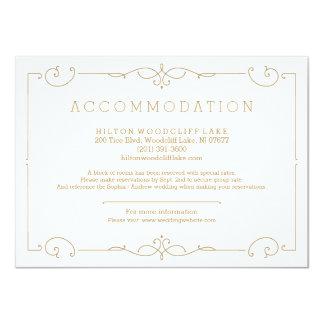 Elegant modern classic wedding accommodation card