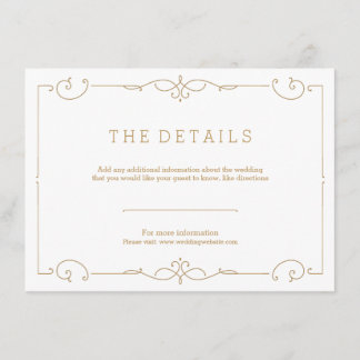 Elegant modern classic wedding detail card