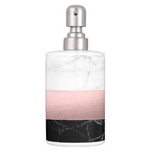 Elegant Modern Clear Black White Marble Rose Gold Bathroom Set