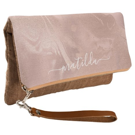 Elegant modern copper rose gold marble look clutch