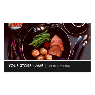 Elegant Modern Cuisine Beef Steak Tableware Theme Double-Sided Standard Business Cards (Pack Of 100)