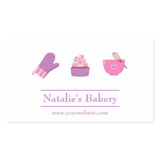 Elegant Modern Cupcake Bakery Cafe Pink Purple Double-Sided Standard Business Cards (Pack Of 100)