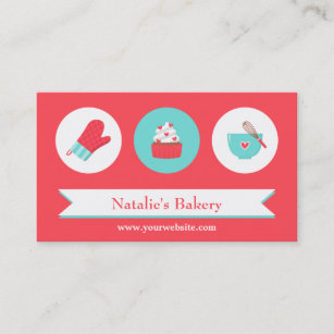 Cafe business cards zazzle elegant modern cupcake bakery cafe red turquoise business card colourmoves