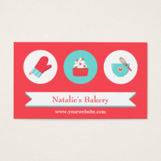 Elegant Modern Cupcake Bakery Cafe Red Turquoise Business Card at Zazzle