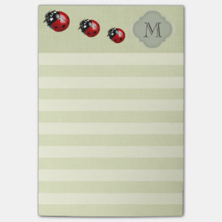 Elegant modern cute ladybug stripes monogram post-it notes
