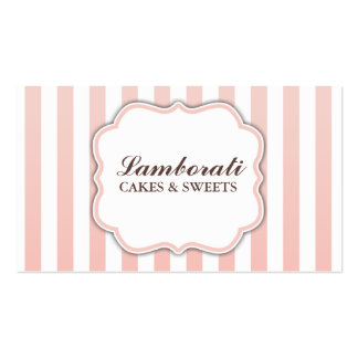 Elegant Modern Cute Pink and White Stripes Business Card Templates