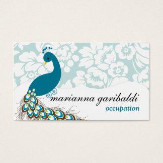 Elegant Modern Damask Peacock Business Card