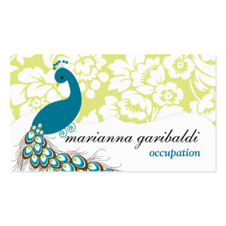 Elegant Modern Damask Peacock Double-Sided Standard Business Cards (Pack Of 100)