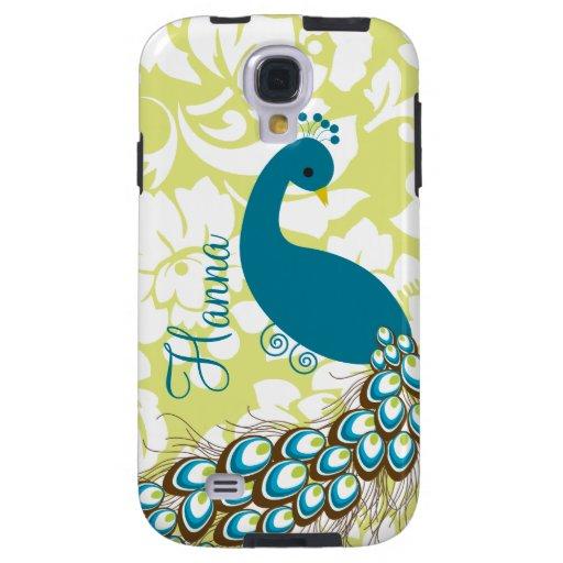 Elegant Modern Damask Peacock Personalized Galaxy S4 Case