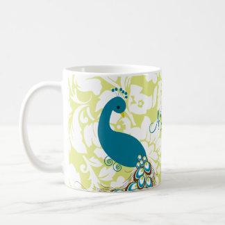Elegant Modern Damask Peacock Personalized Coffee Mug
