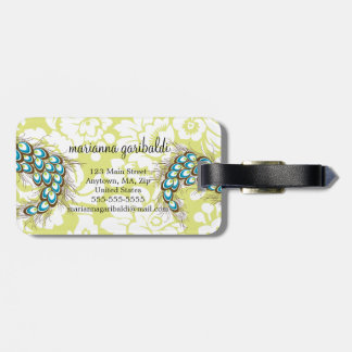 Elegant Modern Damask Peacock Personalized Travel Bag Tags
