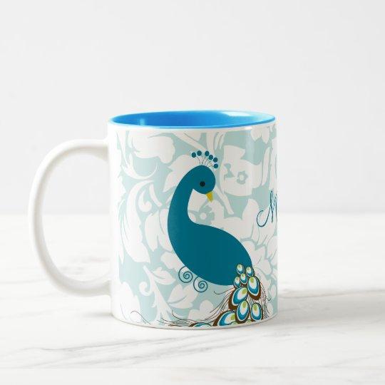 Elegant Modern Damask Peacock Personalized Two-Tone Coffee Mug