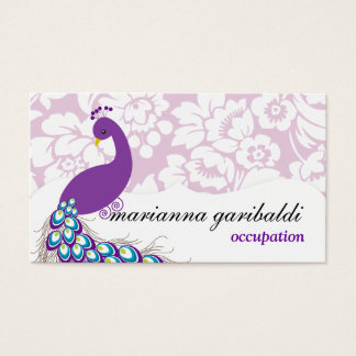 Elegant Modern Damask Purple Peacock Business Card