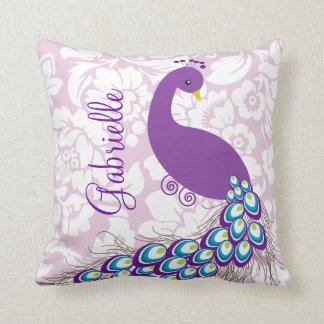Elegant Modern Damask Purple Peacock Personalized Pillow