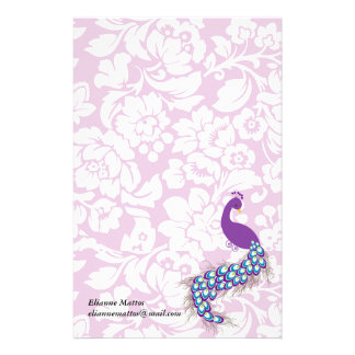 Elegant Modern Damask Purple Peacock Personalized Stationery