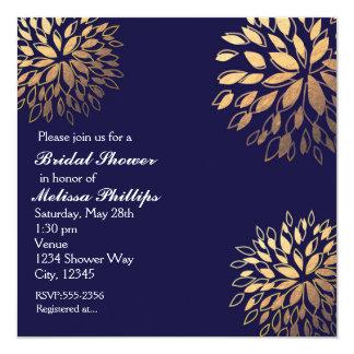 Elegant Modern Dark Navy Blue Foil Floral Invite