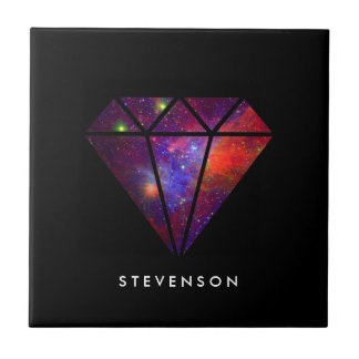 elegant modern diamond nebula colorful pink black ceramic tile
