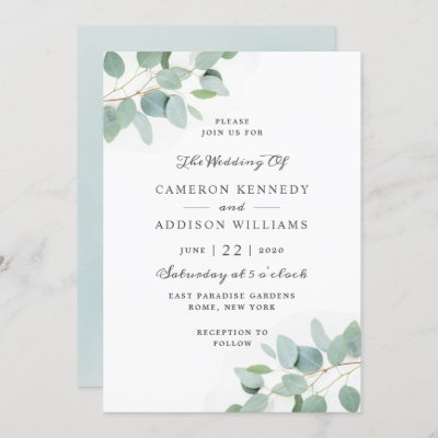 Elegant Modern Eucalyptus Wedding Invitation