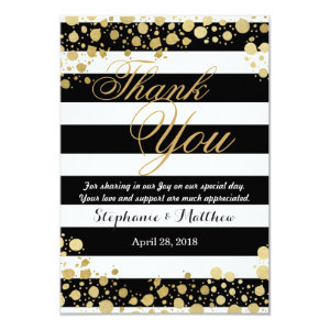 Elegant Modern Faux Gold Splatters and Stripes 3.5x5 Paper Invitation Card