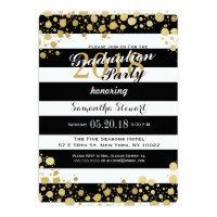 Elegant Modern Faux Gold Splatters and Stripes Card