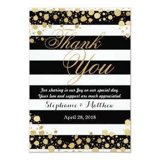 Elegant Modern Faux Gold Splatters and Stripes Card