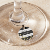 Elegant Modern Faux Gold Splatters and Stripes Wine Charm