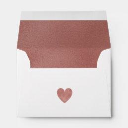Elegant Modern Faux Rose Gold Foil Heart Wedding Envelope