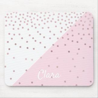 Elegant modern faux rose gold glitter confetti mouse pad
