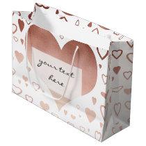 elegant modern faux rose gold hearts pattern large gift bag