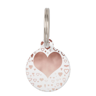elegant modern faux rose gold hearts pattern pet ID tag