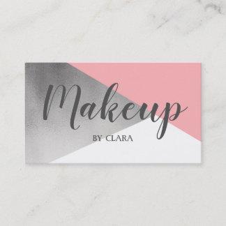 elegant modern faux silver blush pink geometric business card