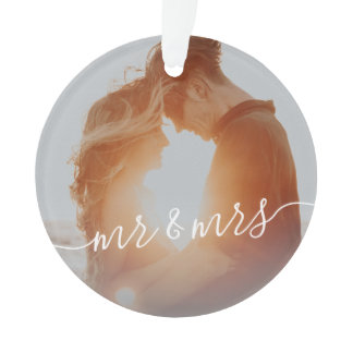 Elegant modern first Christmas as Mr. & Mrs. photo Ornament