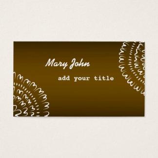 Elegant Modern Floral Doodle Brown Business Card