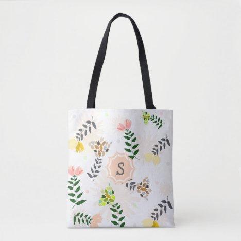 Elegant Modern Floral Monogram Tote Bag