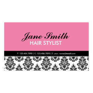 Elegant Modern Floral Pattern Stylist Salon Business Cards