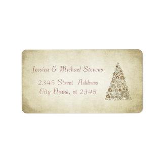 Elegant modern gentle vintage Christmas tree Label
