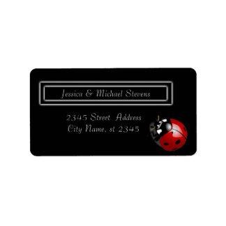 Elegant modern gentle wedding ladybug address label
