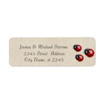 Elegant modern gentle wedding ladybugs linen label