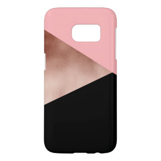 elegant modern geometric rose gold pink black samsung galaxy s7 case