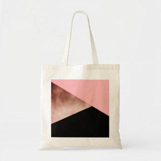 elegant modern geometric rose gold pink black tote bag
